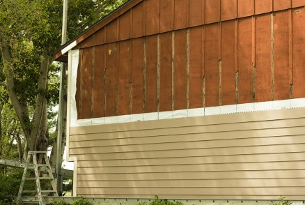 Partially completed siding project